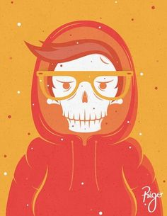 Skully in a hood on the Behance Network #illustration #orange #skully
