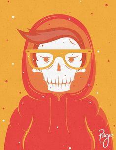 Skully in a hood on the Behance Network #illustration #orange #skully
