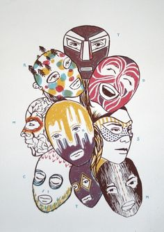 Screen Prints - Tati #masks #screen #illustration #print