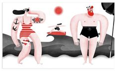 <img src= #corte #retro #illustration #maria #beach