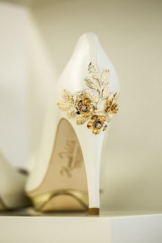 Everything That Sparkles #white #shoe #heels #gold #flower #high