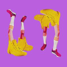 Should I stay or should I go?  #sneakers #converse #allstar #yellow #pink #violet #collage #surreal #visualdesign #artwork #papercollage #fu