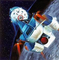 "Davis Meltzer, ""Lunar Excursion Module Prepares to Dock with its Mothership,"" 1960s"