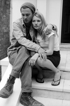 - #black and white #kate moss #johnny depp