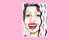 Beatriz for 'Birthday Special' series by Chiamaka Ojechi #illustration #pastels #babypink #palepink #redlips #smile #markers #promarkers