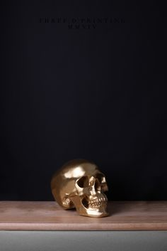3D Printing, from Time Capsule (2014) Artist: Isabel Sierra y Gómez de León http://isabelsierraygomezdeleon.com/post/91656261513/timecapsu #composition #black #centered #wood #photography #art #gold #life #skull #still #shelf #technology