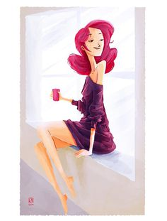Random Illustrations on Behance #woman #girl #pink #design #hair #illustration #art #window #beauty