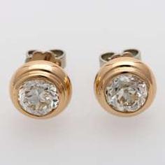 Stud earrings (Pair) with 1 old European cut diamond,