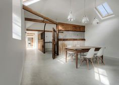 Manor House Stables AR Design Studio #interior #white #reclaimed #wood #eames
