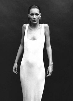 undone list #black and white #woman #kate moss #white dress