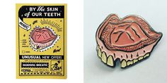 BY THE SKIN OF OUR TEETH - enamel lapel pin & backing card