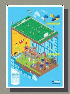 omaigod #isometric #argentina #graphic #geometric #illustration #colors #poster #party
