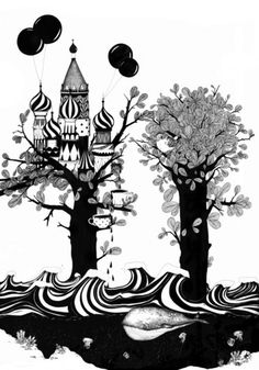 The Whale And The Balloons on the Behance Network #ink #balloons #whale #illustration #castle #trees