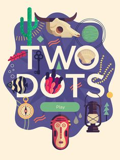 Two Dots – App Title #illustration #dots #two #vector #skull #cactus #mexico #minimal
