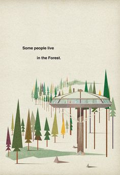 Poster #illustration #vintage #poster #architecture #retro #trees
