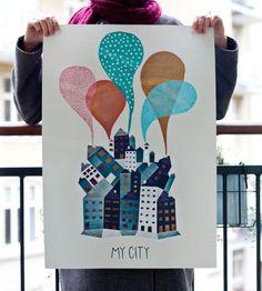 Michelle Carlslund Illustration My city Poster