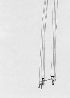 this isn't happiness™ - photo caption contains external link #couple #touch #rope #hang #tall #illustration #play #cute #swing #drawing #sketch