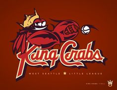 West Seattle Little League - danlustig.com #vector #seattle #crabs #sports #baseball #logo #king #typography