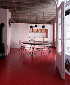 Bratislava Loft Apartment by Studio GutGut rubber red flooring kitchen #interior #dining #desifn #design #kitchen