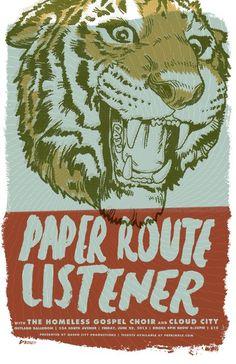 Garrett DeRossett | Work #derossett #listener #route #gig #design #paper #paint #garrett #drawn #poster #show #blue #tiger #hand #concert #typography