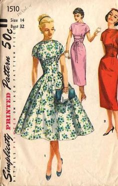 1956: One piece dress with two skirts #design #vintage