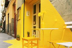 The Ephemeral Lighting Installation by (fos) in Madrid #door #yellow