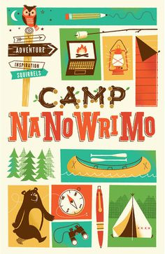 Brave the Woods: Camp NaNoWriMo Brand Identity #illustration #vintage #bear #owl #camping