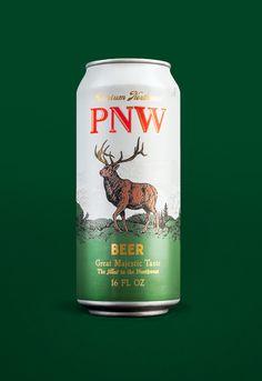 Packaging, Beer, PNW, Northwest, Elk, Illustration, Can, Tallboy