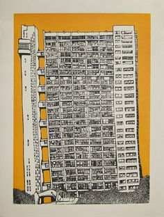 Trellick Tower (Yellow) (Silkscreen Signed Limited Edition of 25) by Jo Peel #trellick #bella #tower