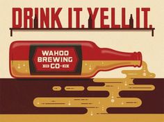 Wahoo Brewing Company Poster #beer #illustration #poster