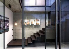 Industrial Style Inspired Interior by Pitsou Kedem Architects palette exposed concrete glass steel #interior #staircase #design #home #stairs
