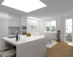 Minimalist kitchen with island and white interior