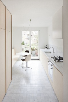 Small kitchen with dinette. House VV by Rolies + Dubois. #kitchen