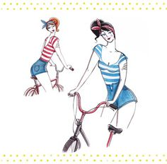 New bicycle project on Magic Suitcase! #project #bicycle #stripes #retro #publication #dots #illustration #tattoo #chic #vintage #bike #cycling #style #jeans