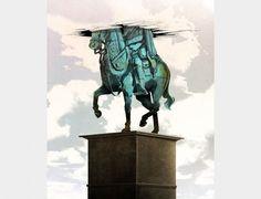 Jonathan Bartlett #statue #roof #horse