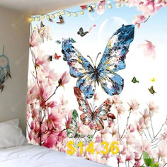 Peach #Blossom #Butterfly #Pattern #Wall #Hanging #Tapestry #- #COLORFUL