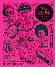 No Cure Magazine: Cover Illustration By Andrew Fairclough #n #rock #drugs #cover #digital #illustration #gif #art #roll #drawing #magazine