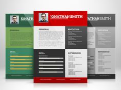 Flat Elegant Resume Template with 3 Different Colors
