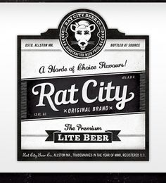 Rat City Beer Co. on the Behance Network #logo #branding #beer