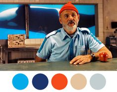 Steve Zissou: Dont point that gun at him, hes an unpaid intern. #wes anderson #color palette