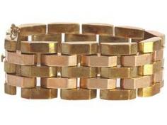 Bracelet: wide and heavy vintage gold bracelet