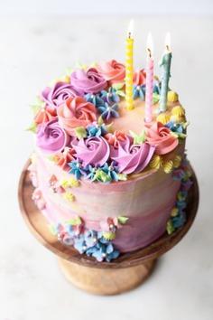 Pastel Buttercream Sprinkle Birthday Cake - Birthday Cake Photos