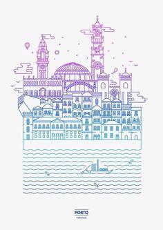 Oporto - André Torres #line #oporto #picto #illustration #porto