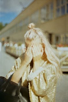 Likes | Tumblr #sequins #girl #blonde #gold #street #fashion