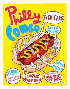 Hot Dog Of The Week: Philly Combo | Serious Eats #typography #food #hot #illustration #dog