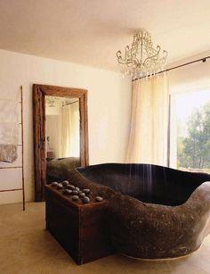 Art of a rustic bathtub form #artistic #bathroom #furniture #art #bathtub