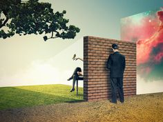 Julien Pacaud / Together / colagene.com #brick #woman #tree #tentation #photo #montage #bird #illustration #wall #vintage #galaxy