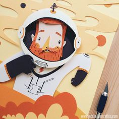 astronaut, paper, cutout, design, color