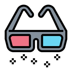 See more icon inspiration related to cinema, game, 3d, film, fashion, 3d glasses, gaming, clothing, entertainment, glasses, filming and movie on Flaticon.