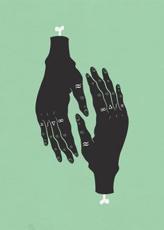 HÄNDER : Sara Andreasson #album #hands #print #black #illustration #tattoo #poster #art #finger #symmetry #hand #green